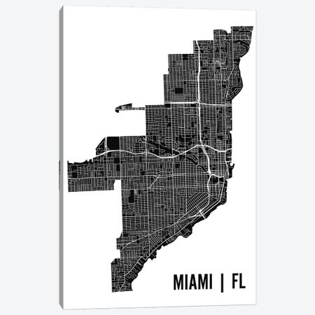 Miami Map Canvas Print #MCP38} by Mr. City Printing Canvas Art Print