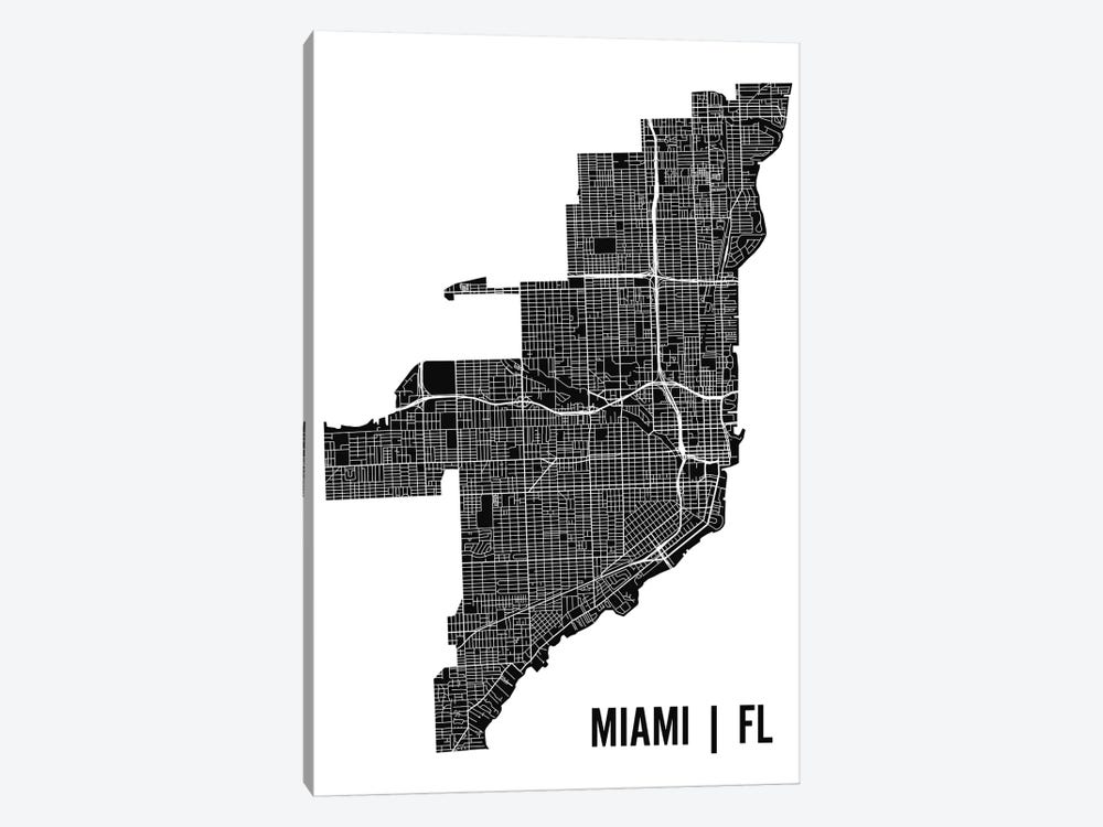 Miami Map by Mr. City Printing 1-piece Canvas Print