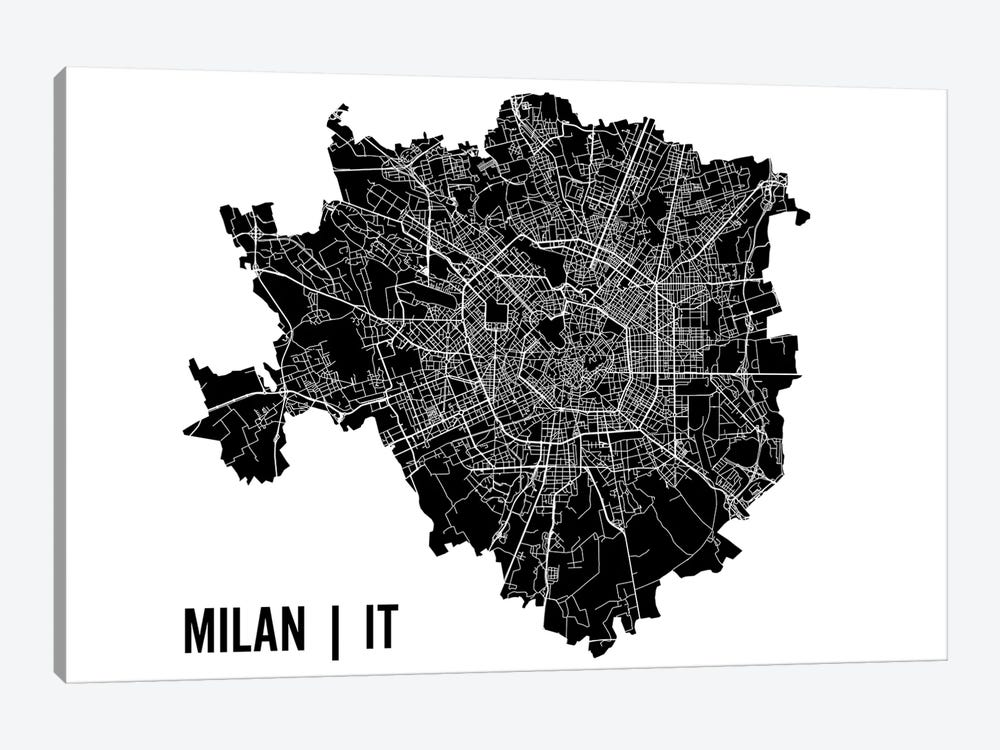 Milan Map by Mr. City Printing 1-piece Canvas Art