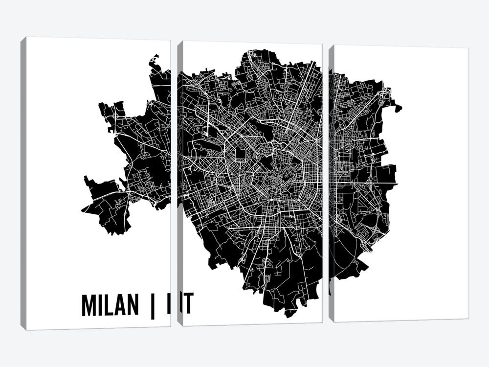 Milan Map 3-piece Canvas Wall Art