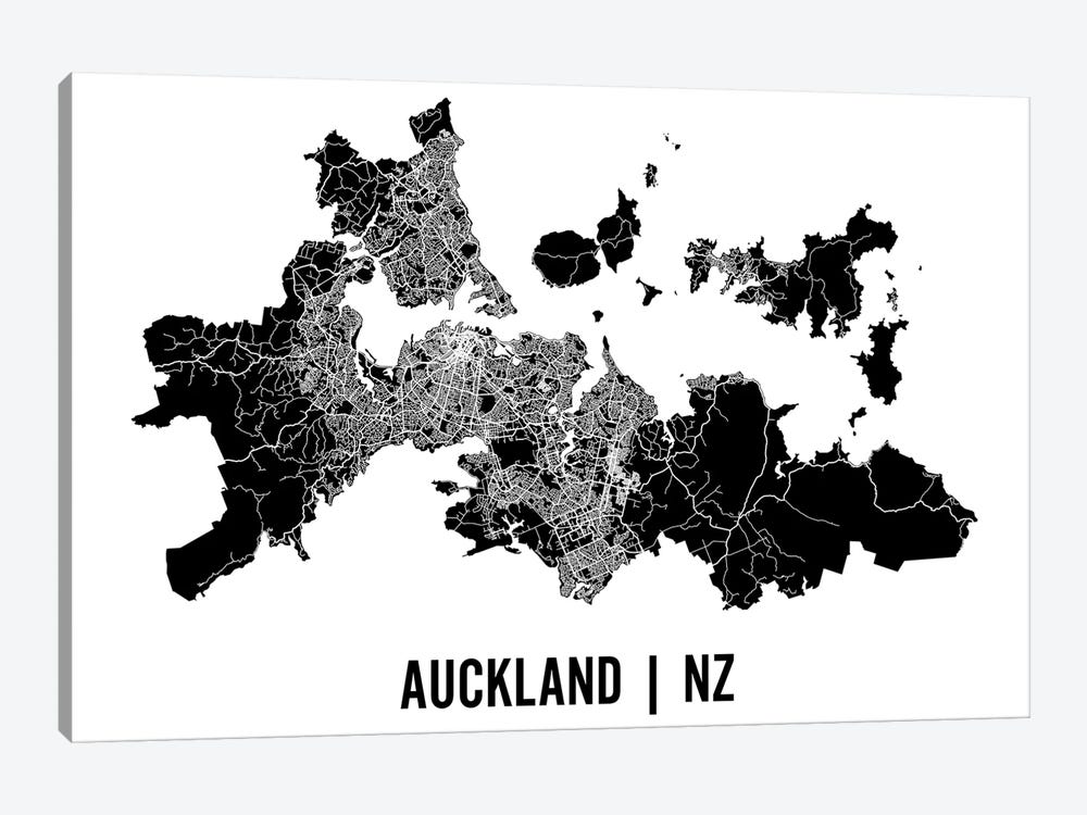 Auckland Map by Mr. City Printing 1-piece Canvas Art Print