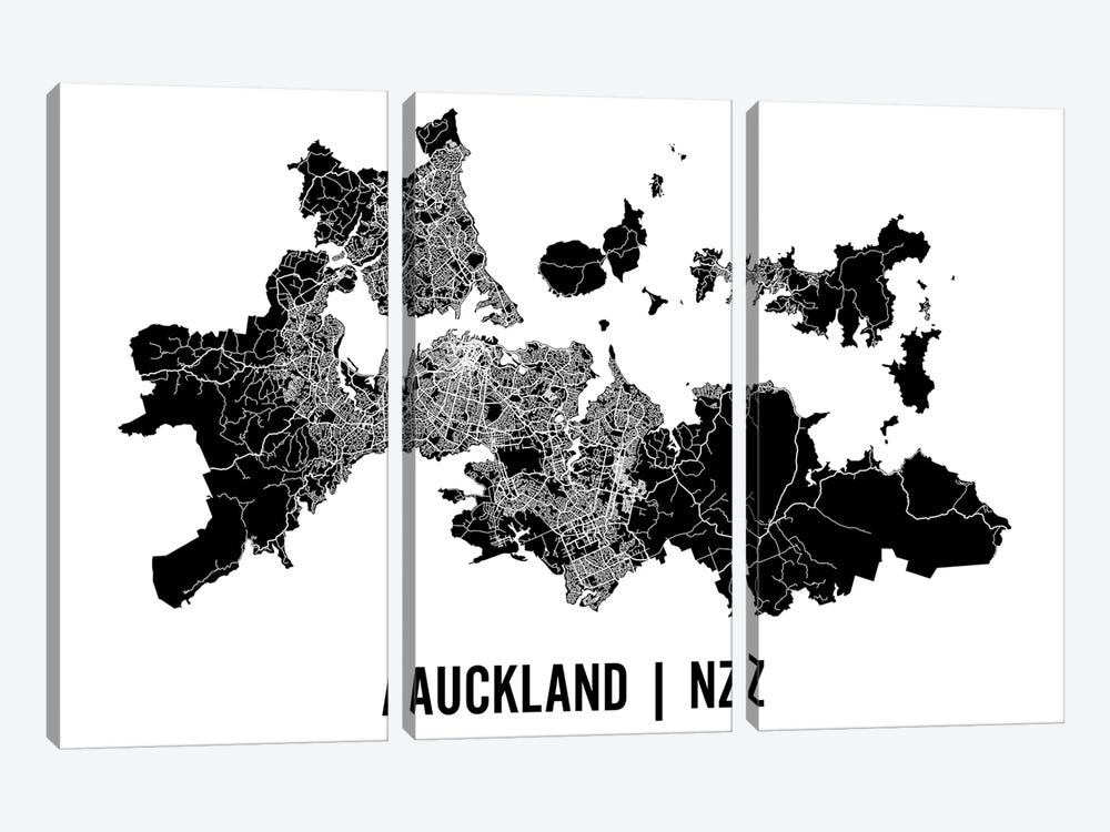 Auckland Map by Mr. City Printing 3-piece Canvas Art Print