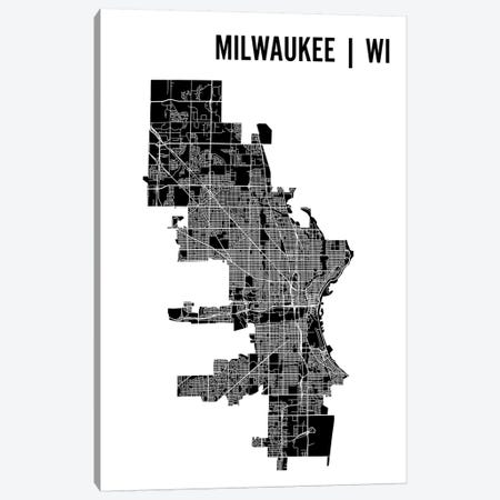 Milwaukee Map Canvas Print #MCP40} by Mr. City Printing Canvas Art