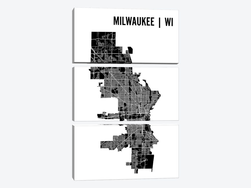 Milwaukee Map by Mr. City Printing 3-piece Canvas Wall Art