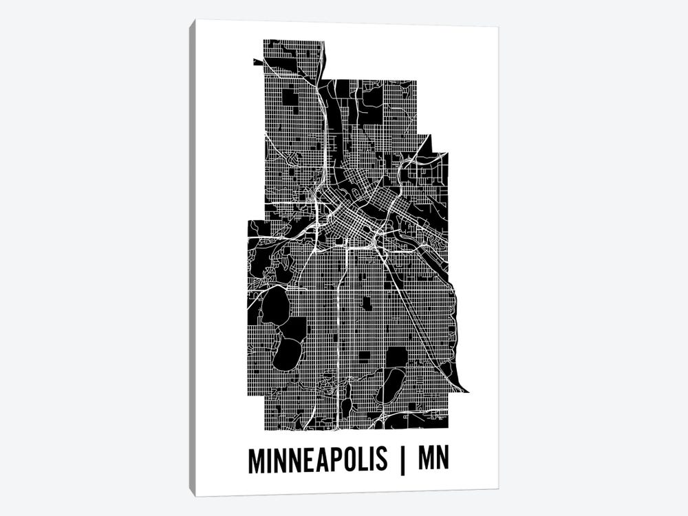 Minneapolis Map by Mr. City Printing 1-piece Canvas Art Print