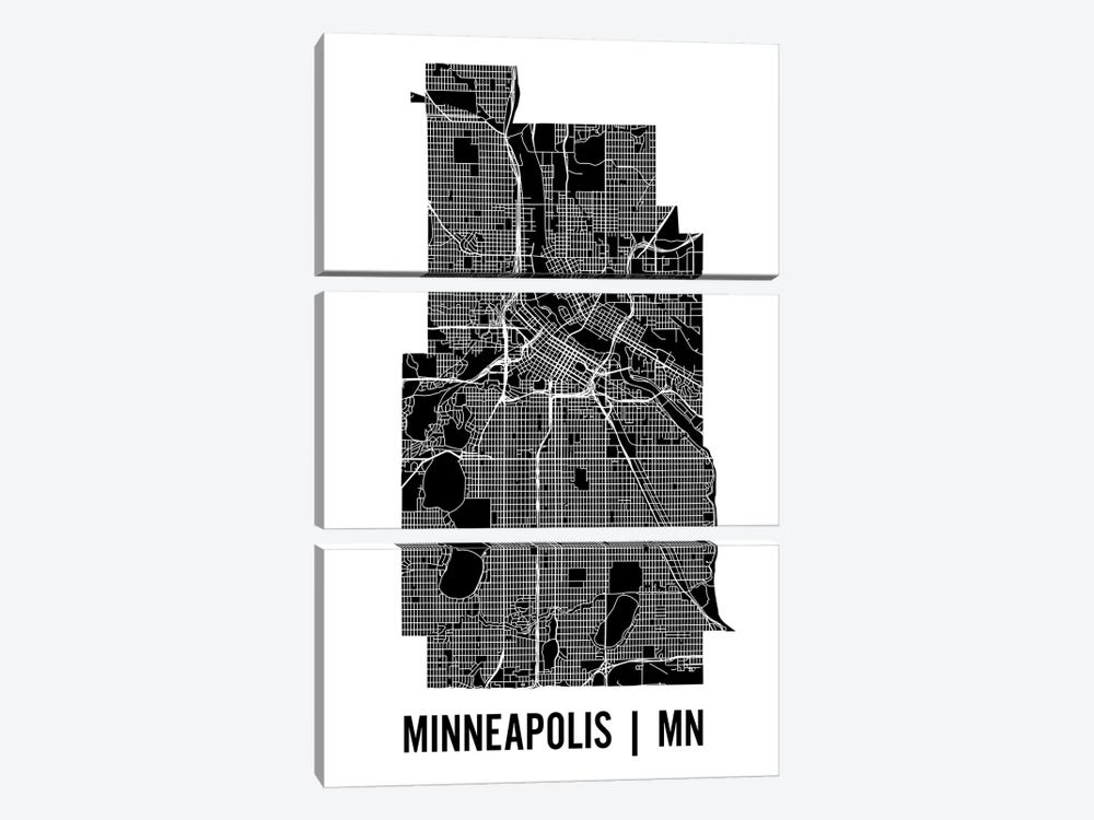 Minneapolis Map by Mr. City Printing 3-piece Canvas Print