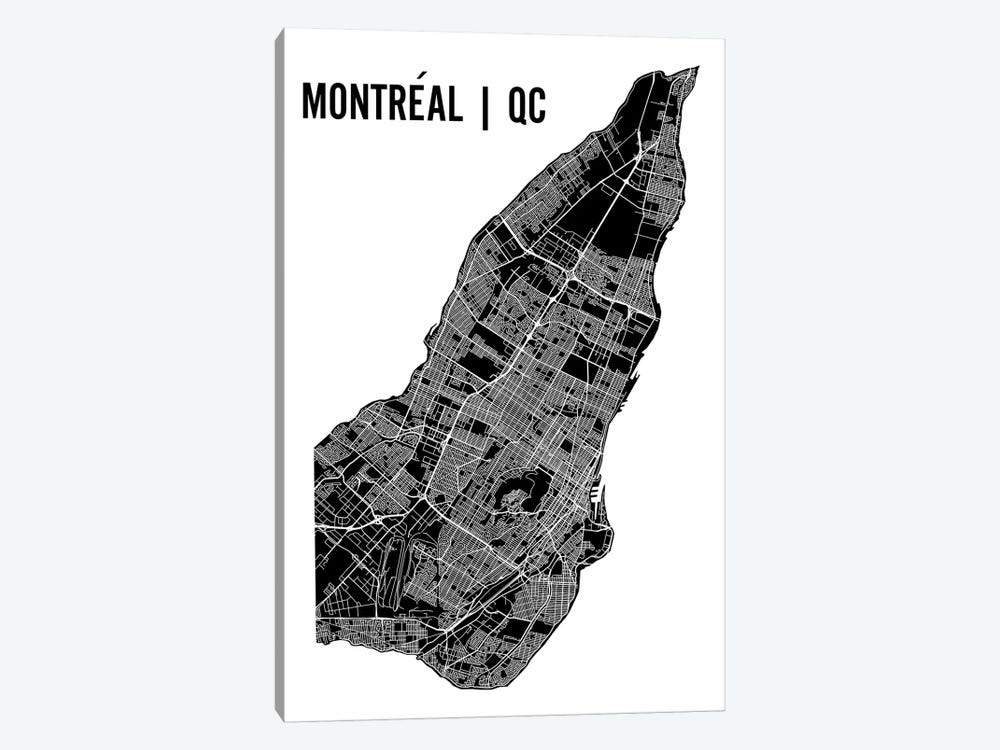 Montreal Map by Mr. City Printing 1-piece Canvas Wall Art