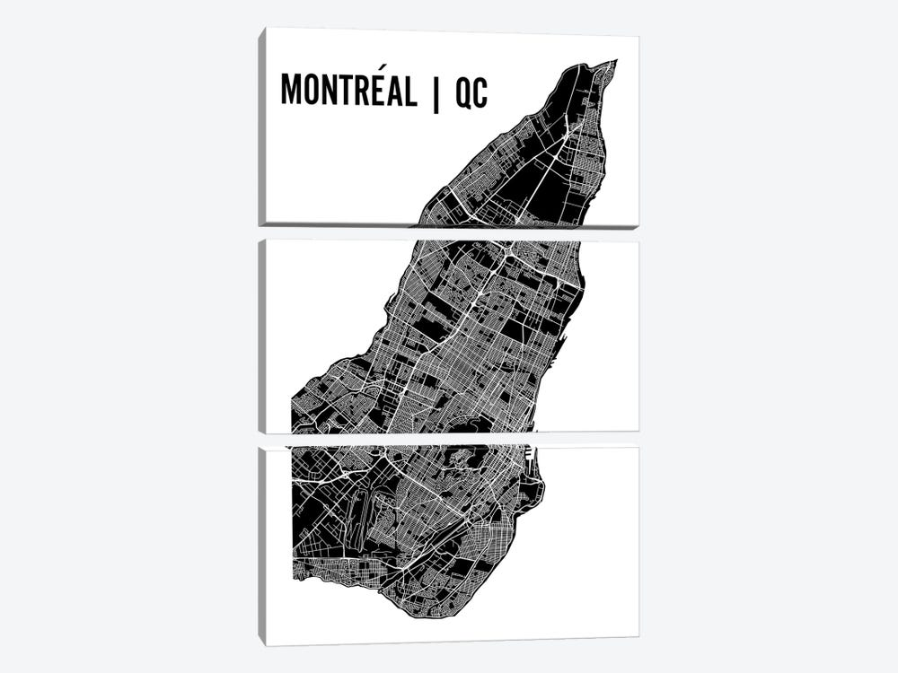 Montreal Map by Mr. City Printing 3-piece Canvas Art