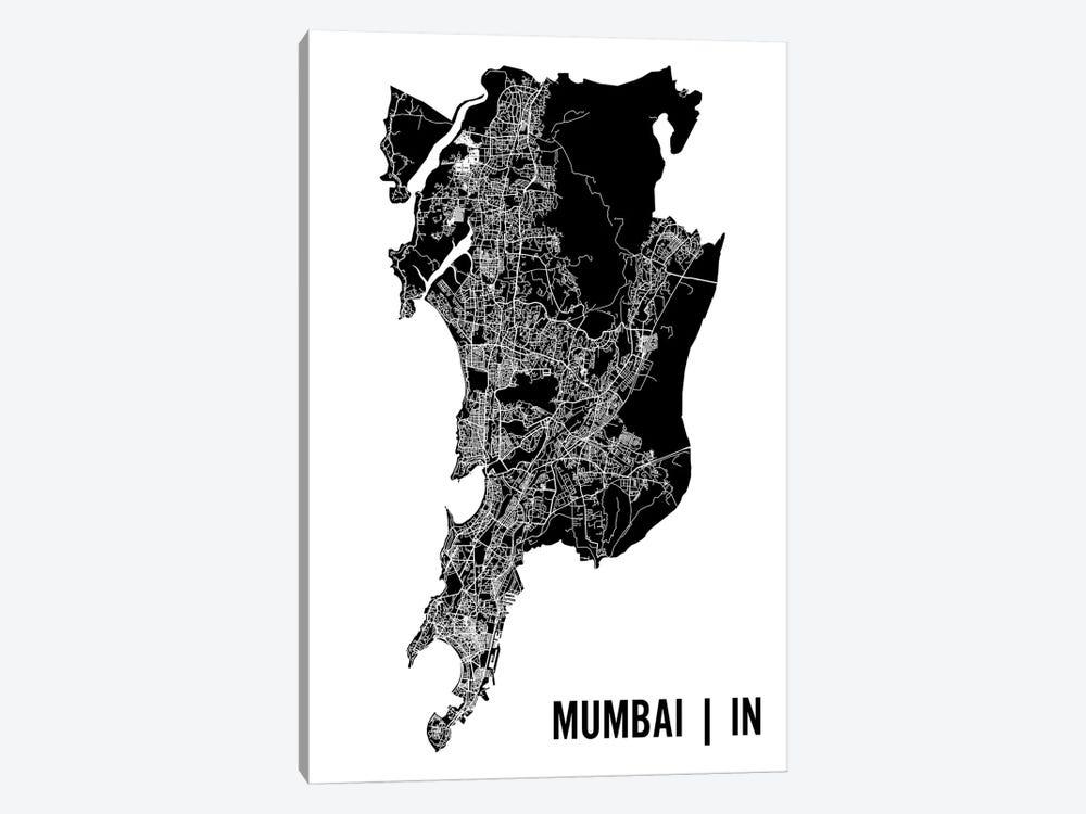 Mumbai Map by Mr. City Printing 1-piece Canvas Art Print