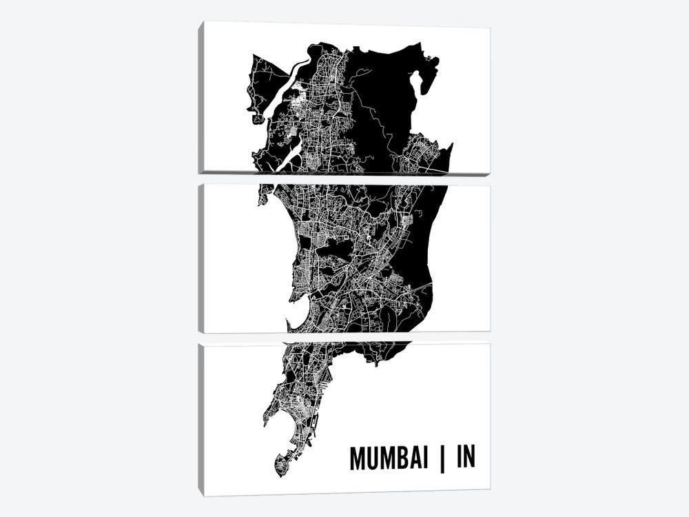 Mumbai Map by Mr. City Printing 3-piece Canvas Art Print