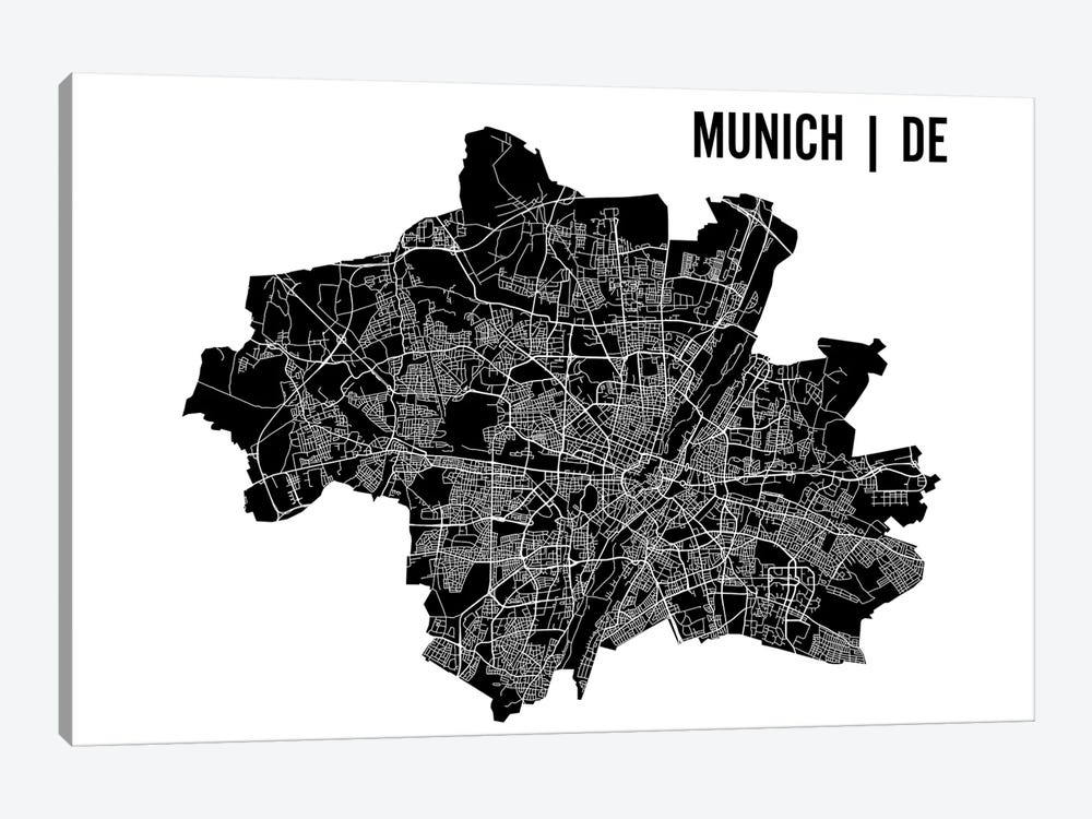 Munich Map by Mr. City Printing 1-piece Canvas Art