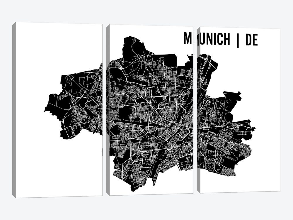 Munich Map 3-piece Canvas Art