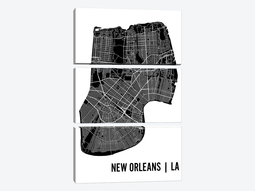New Orleans Map by Mr. City Printing 3-piece Canvas Art Print