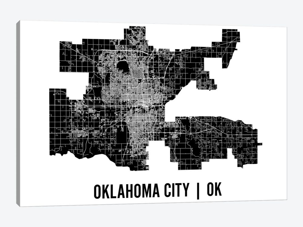 Oklahoma City Map by Mr. City Printing 1-piece Canvas Print