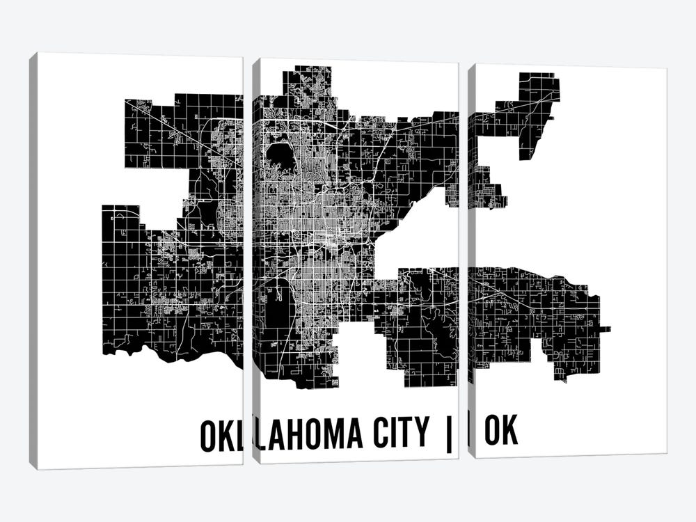 Oklahoma City Map by Mr. City Printing 3-piece Art Print