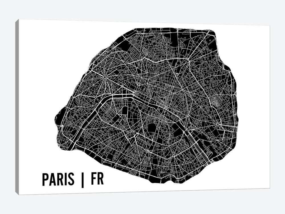 Paris Map by Mr. City Printing 1-piece Canvas Wall Art