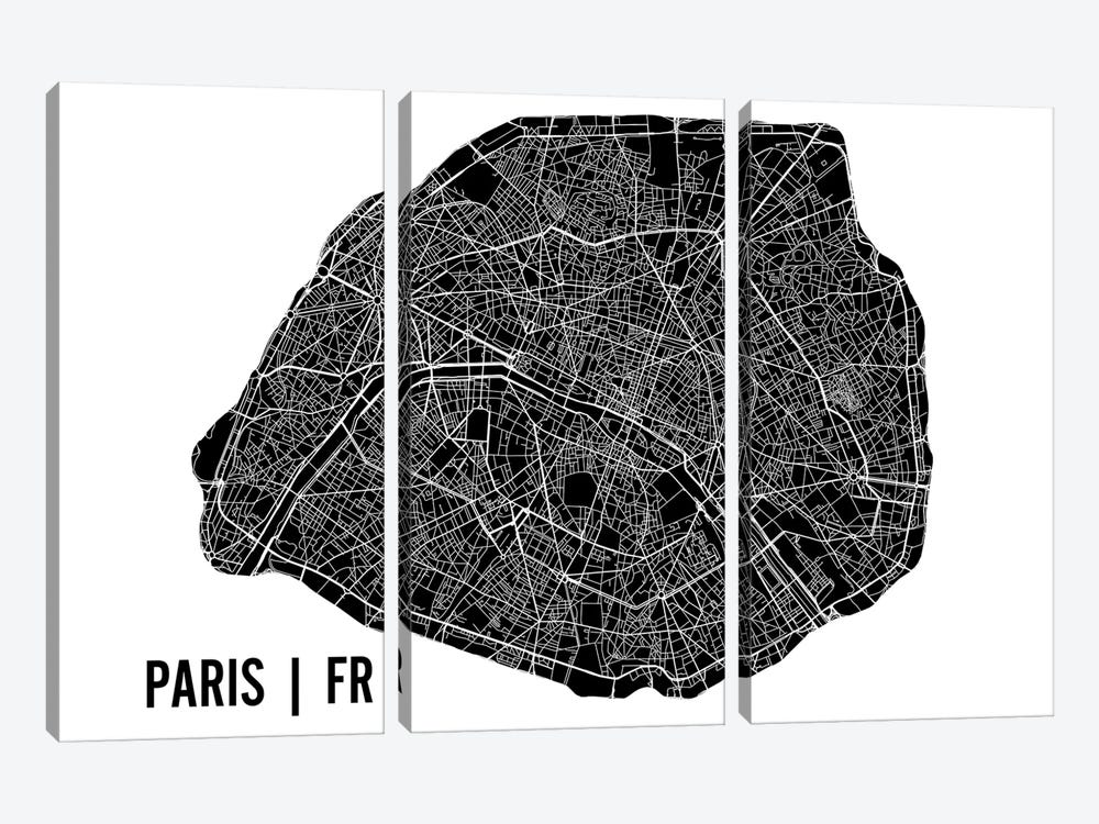 Paris Map by Mr. City Printing 3-piece Canvas Art