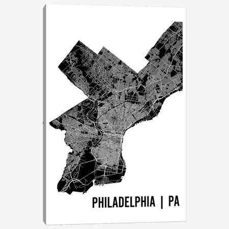 Philadelphia Map Canvas Print #MCP49} by Mr. City Printing Canvas Wall Art