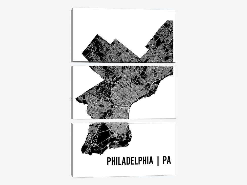 Philadelphia Map by Mr. City Printing 3-piece Art Print