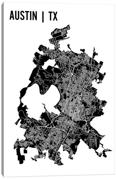 Austin Map Canvas Art Print