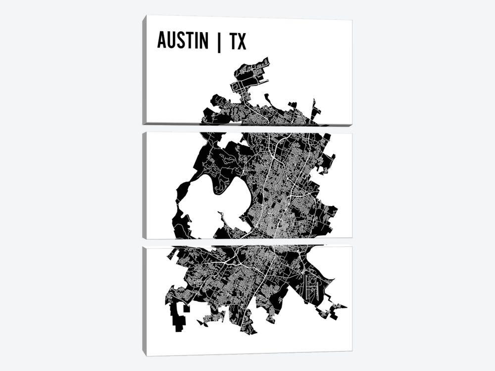 Austin Map by Mr. City Printing 3-piece Canvas Artwork