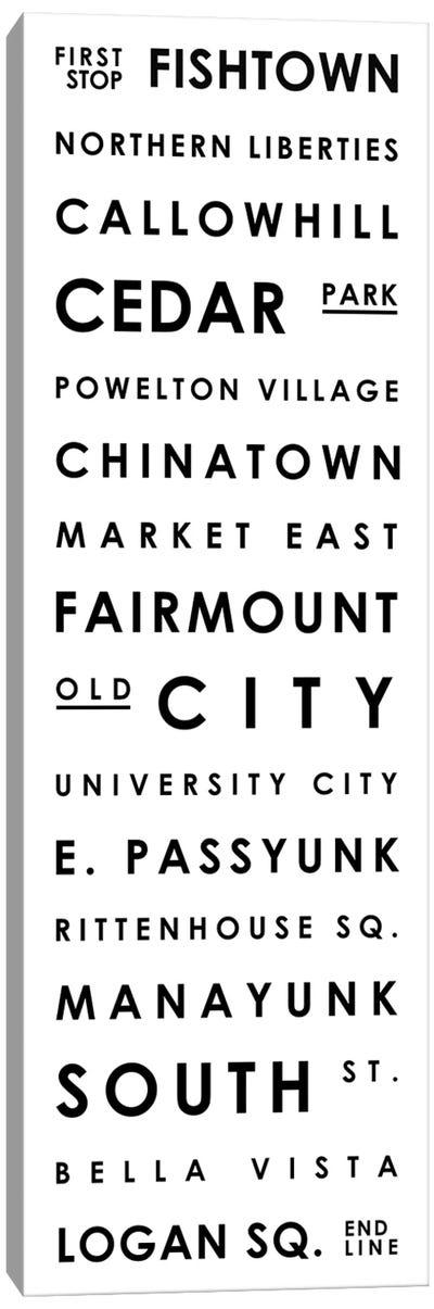 Philadelphia Typographical Neighborhoods Canvas Art Print