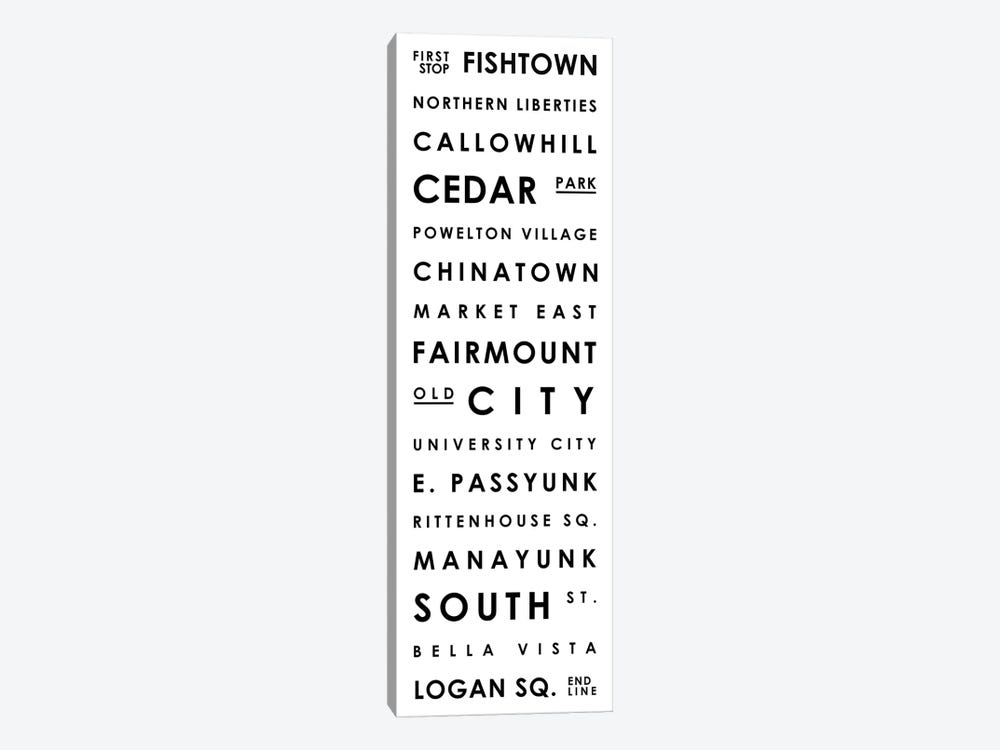 Philadelphia Typographical Neighborhoods by Mr. City Printing 1-piece Canvas Print