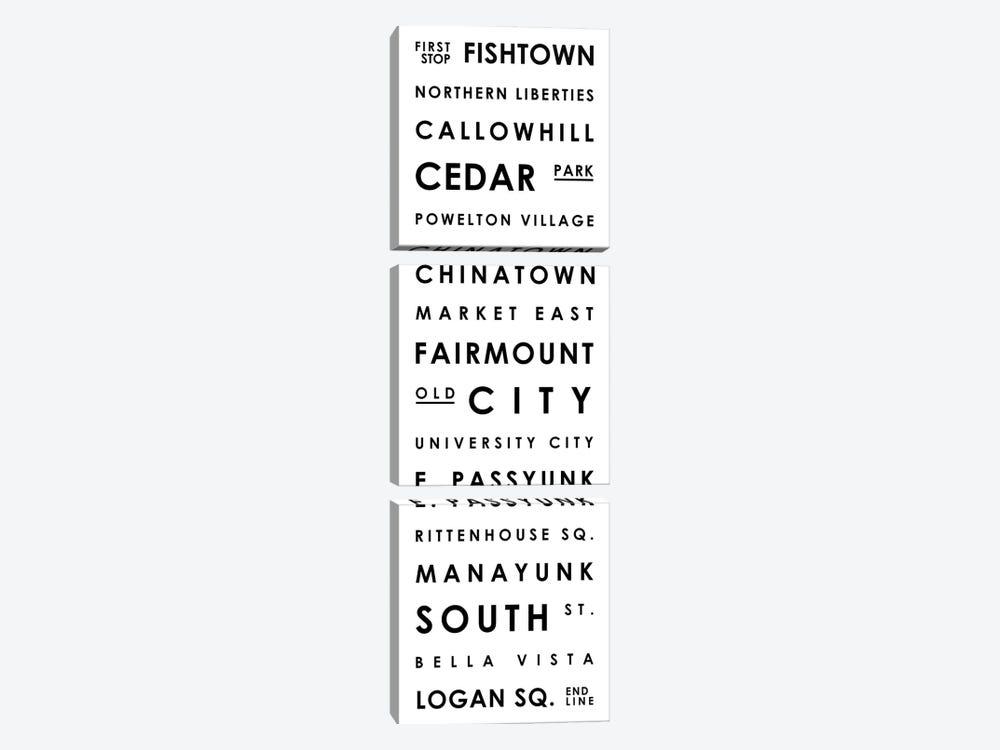 Philadelphia Typographical Neighborhoods by Mr. City Printing 3-piece Canvas Art Print
