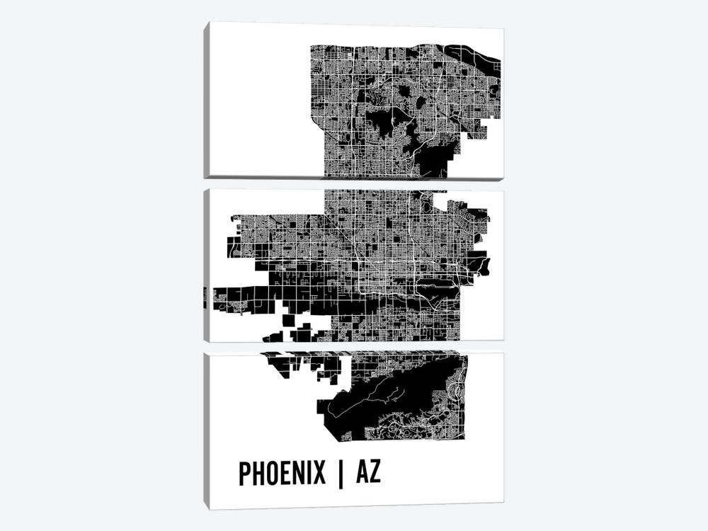 Phoenix Map by Mr. City Printing 3-piece Canvas Wall Art