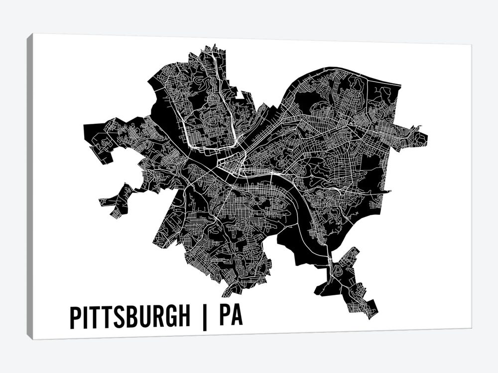 Pittsburgh Map by Mr. City Printing 1-piece Art Print