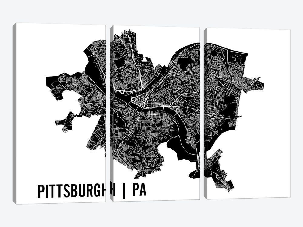 Pittsburgh Map by Mr. City Printing 3-piece Art Print
