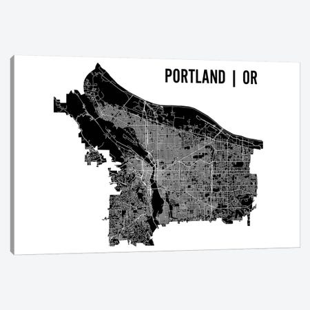 Portland Map Canvas Print #MCP53} by Mr. City Printing Canvas Print