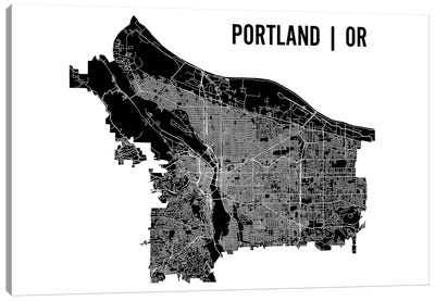 Portland Map Canvas Art Print