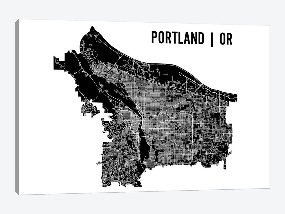 Portland Map by Mr. City Printing 1-piece Canvas Artwork