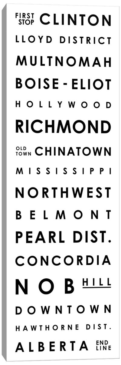 Portland Typographical Neighborhoods Canvas Art Print