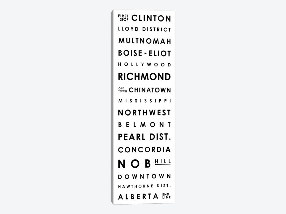 Portland Typographical Neighborhoods by Mr. City Printing 1-piece Art Print