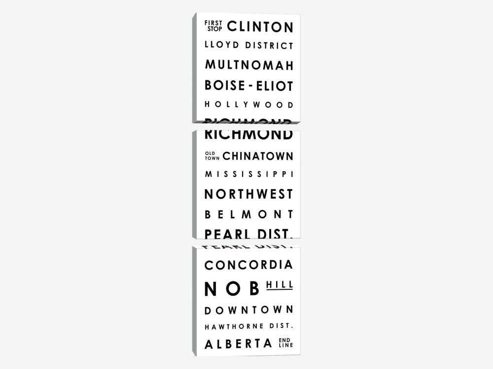 Portland Typographical Neighborhoods by Mr. City Printing 3-piece Art Print