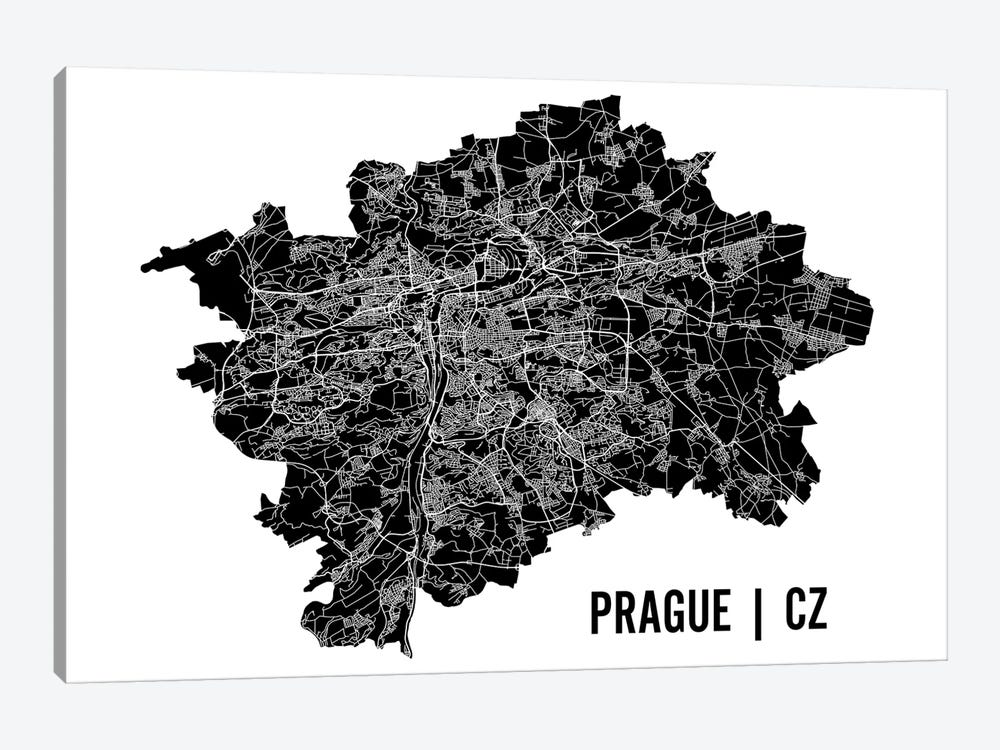 Prague Map by Mr. City Printing 1-piece Canvas Artwork