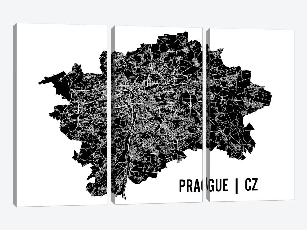 Prague Map by Mr. City Printing 3-piece Canvas Art