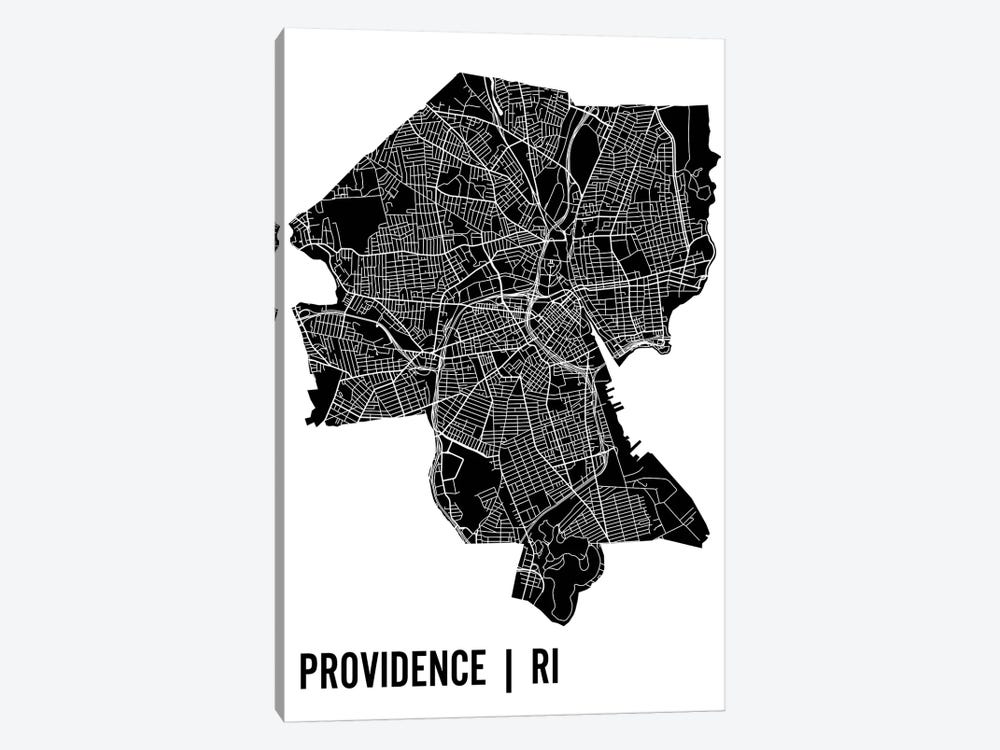 Providence Map by Mr. City Printing 1-piece Canvas Print
