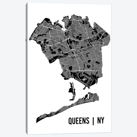 Queens Map Canvas Print #MCP57} by Mr. City Printing Canvas Artwork