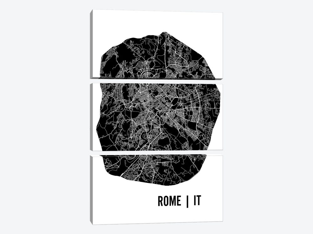 Rome Map 3-piece Canvas Art Print