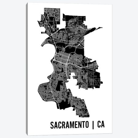 Sacramento Map Canvas Print #MCP59} by Mr. City Printing Canvas Print