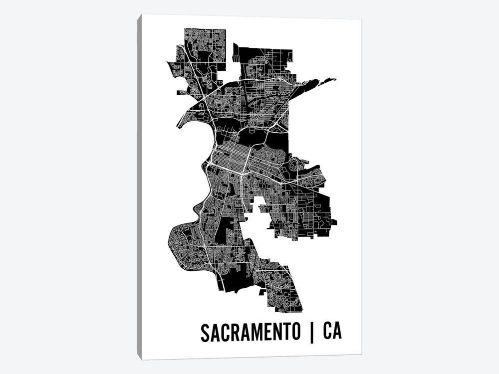 Sacramento Map by Mr. City Printing 1-piece Canvas Wall Art