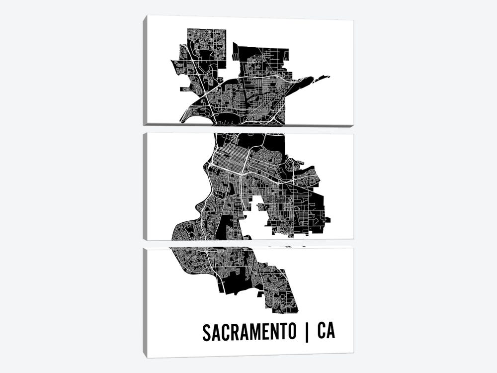 Sacramento Map by Mr. City Printing 3-piece Canvas Art