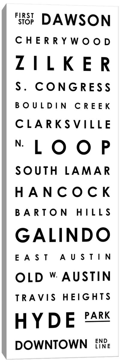 Austin Typographical Neighborhoods Canvas Art Print