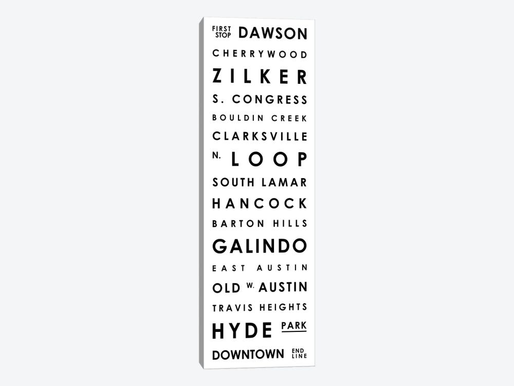 Austin Typographical Neighborhoods by Mr. City Printing 1-piece Canvas Art Print