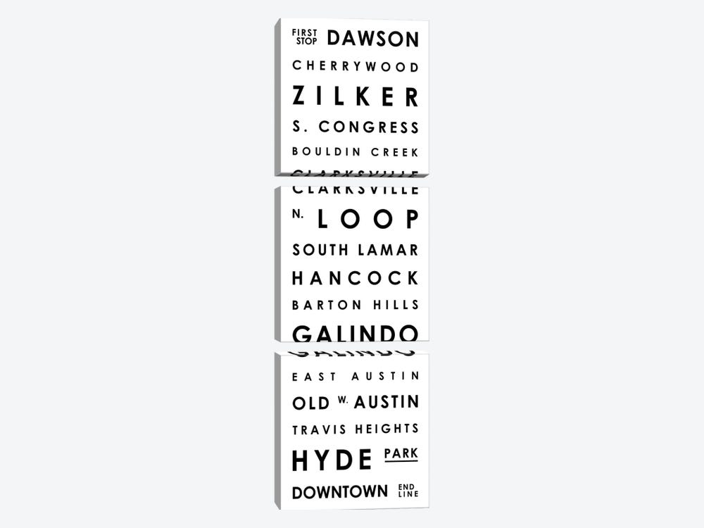 Austin Typographical Neighborhoods by Mr. City Printing 3-piece Canvas Print