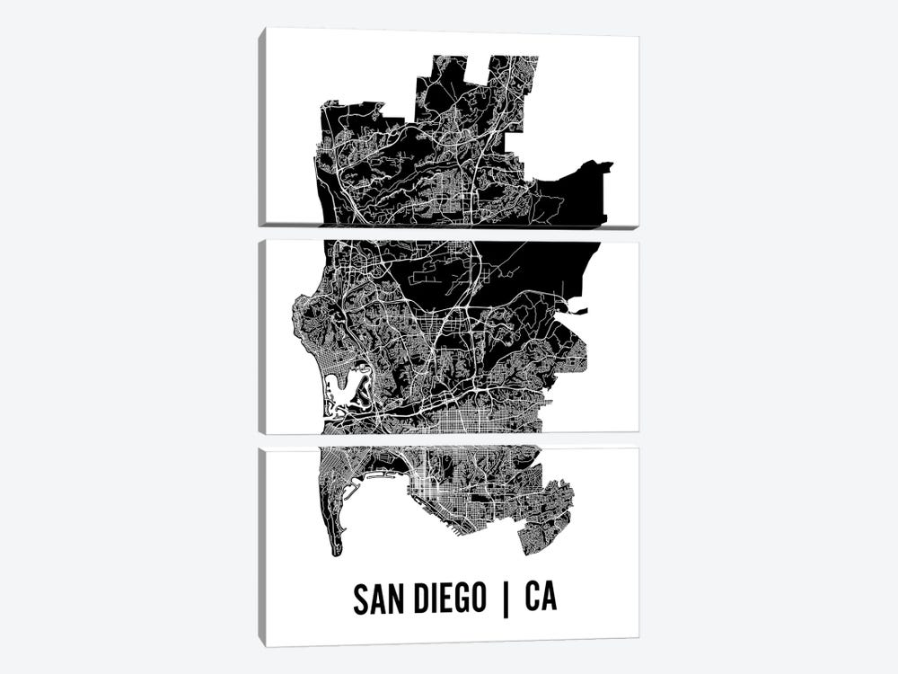 San Diego Map by Mr. City Printing 3-piece Canvas Artwork