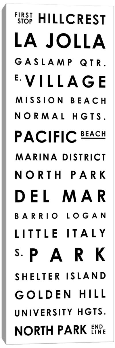 San Diego Typographical Neighborhoods Canvas Art Print